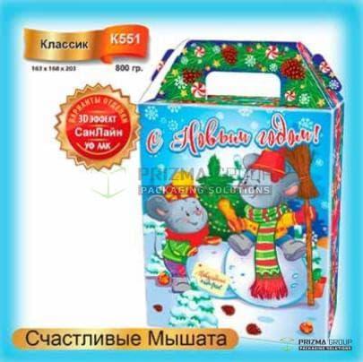 Коробка «Счастливые мышата» для новогодних подарков