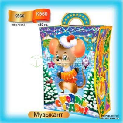 Коробка из картона «Музыкант» для новогодних подарков