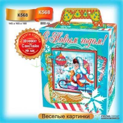 Новогодняя коробка «Весёлые картинки» для детских подарков