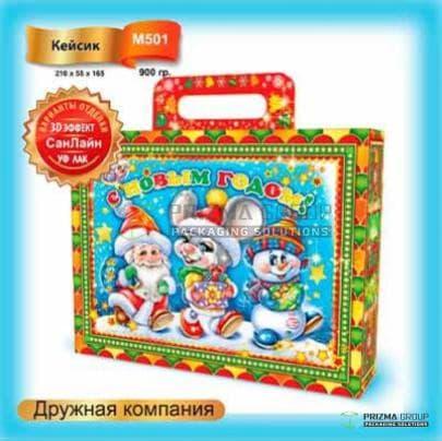 Коробка (чемодан) «Дружная компания» для новогодних подарков