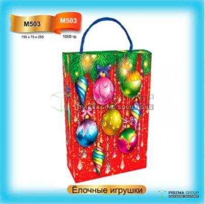 Новогодняя коробка «Ёлочные игрушки» для детских подарков