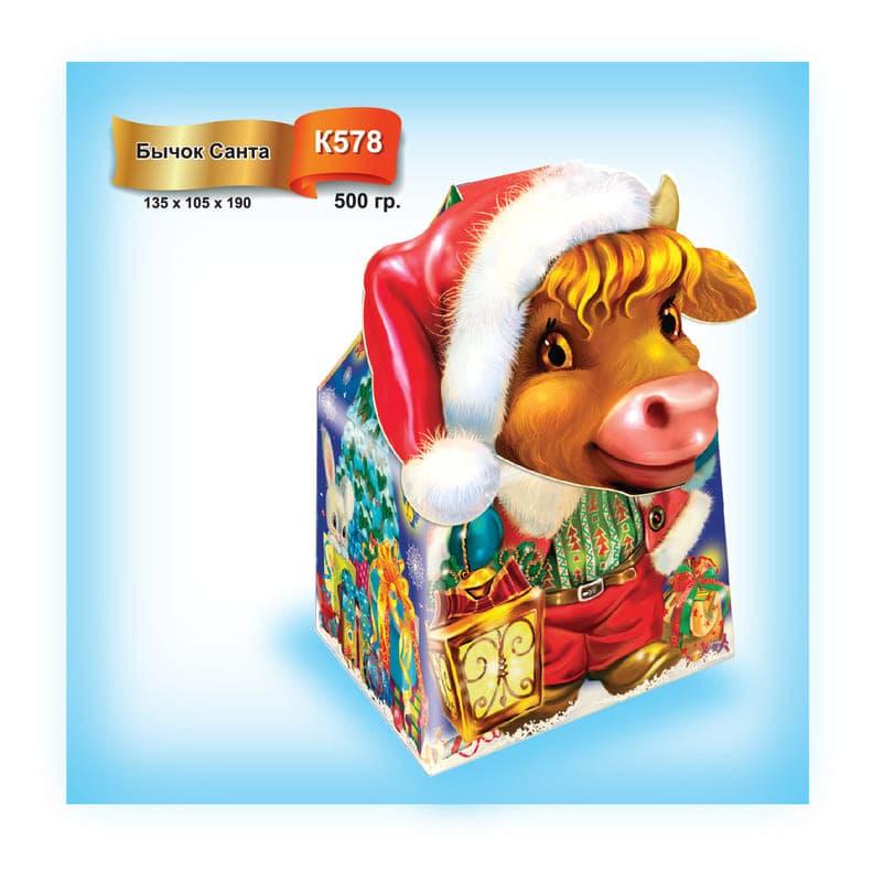 """Упаковка для подарка """"Бычок Санта"""""""